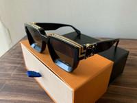 الجملة-الفاخرة المليونير نظارات شمسية الإطار الكامل مصمم النظارات الشمسية للرجال لامعة الذهب شعار حار بيع الذهب مطلي أعلى 96006