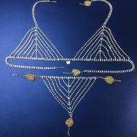 Luxuruy Rhinestone Butterfly Pendant Chain Bra Body Jewelry for Women Sexy Crystal Thong Waist Round Panties Underwaer Set