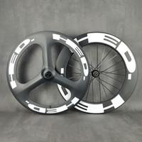 HED 700C Wheelset di carbonio Roas Disc anteriore anteriore tri-raggio posteriore 88mm traccia ruota / ruota rotabile con copertoncino / tubolare con finitura opaco UD Novatec792 hub