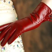 قفازات KLSS العلامة التجارية جلد اصلي المرأة قفازات الشتاء زائد المخملية ذات جودة عالية جلد الماعز موضة سيدة جلد الغنم القفاز 2317