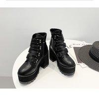 Boots Boussac Buckle Decoration Thick High Heel Women Round Toe Black Punk Platform Rivets Goth Shoes