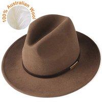 Fedora Sombrero para mujeres Hombres 100% Australiano Lana Fieltro Sombrero Ancho Sombrero Vintage Jazz Fedora Pareja Cap Hielo Chapeau Femme