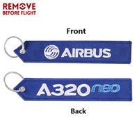 Schlüsselanhänger entfernen vor Flug Airbus Keychain Stickerei A320 Spezielle Tag Label Aviation Schlüsselketten für Geschenk OEM Ring Modeschmuck