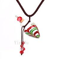 Yingwu coeur Stripe flacon pendentif en liège de la bouteille de cendres huile en verre de Murano Collier réglable