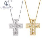 Slovecabin 925 Gümüş Çift haç kolye kolye Kristal Zirkon Altın Uzun Chian Japonya El Yapımı Ağır Takı