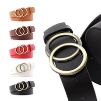 PU Leather Double Round Buckle Waist Belt Women Wide Stretch...