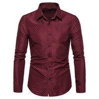 Erkek Gömlekler Tasarımcı Polka Dot Uzun Kollu Skinny Pamuk Blend Tees Moda Yaka Yaka İnce Homme Tops