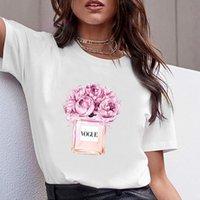 Kadınlar Giyim Baskı Çiçek Parfüm Şişesi Tatlı Kısa Kollu Tişört Baskılı Kadınlar Gömlek T Kadın Tişört En Popüler Basit Kadın Tees