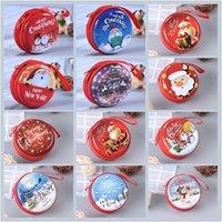 Kreative tinplate Weihnachtsgeldbörse mini portable runde Reißverschluss Kopfhörer Tasche Karikaturmünzenschlüsselaufbewahrungstasche