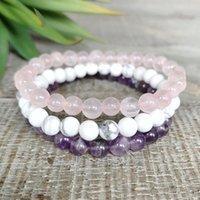 MG0963 Handmade 6 mm Gemstone Bracelet Rose Quartz Energy Protection Mala Bracelet Amethyst Howlite Healing Yoga Bracelet