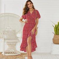 2020hot sale Aachoae Long Wrap Dress 2020 Summer Boho Style Floral Print Maxi Beach Dress Sexy Side Split Party Dress Sundress Vestidos