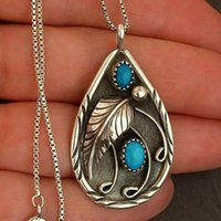 Vintage Silver Relief Feather Blue Enamel Pendant Necklace B...