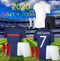 Yetişkin + Çorap 2020 2021 Fransa Futbol Jersey Mbappe Griezmann Kante Pogba Maillot De Ayak Euro 20 21 Erkekler Set Futbol Gömlek Üniforma