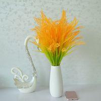 Flores decorativas grinaldas artificiais flor flor planta poisonete decoraçõesimuladas de grãos de grão paddy plástico