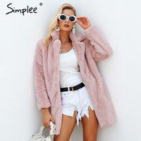 Women's Fur & Faux Simplee Elegant Pink Shaggy Women Coat Streetwear Autumn Winter Warm Plush Teddy Female Plus Size Overcoat Party