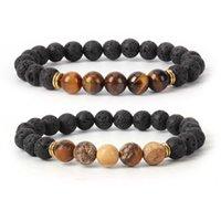 Chakra-Armband-Armband Healing Gleichgewicht Bead Gebet natürlichen vulkanischen Stein Black Lava Karte Turquoises Charm Yoga-Armband Schmuck