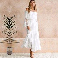 TEELYNN lange Boho Kleid weiße Baumwolle Rayon sexy aus dem 200929 langer Hülse Spleiß Spitzefrauenkleider sundress Schulter Strand vestido