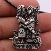 Paar Wikinger Geliebte Auf Viking Runes Schiff Amulett Talisman Anhänger Halskette für Frauen Männer Jewerly Geschenke 2020 Weihnachten
