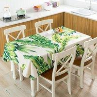 Tabela pano tropical estilo toalha de mesa folha de planta impermeável