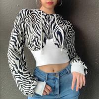 Женские толстовки толстовки улицы классные женщины 2021 осень леди контрастный цвет зебры печать короткие длины пуловер толстовка с длинным рукавом бедра