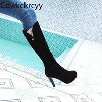 hiver La nouvelle mode tête ronde en daim épais talon bottes de femmes noires Sexy Sequin plus velours talon haut de maintien au chaud bottes femmes