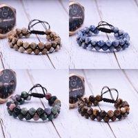 Pulsera de piedra natural nueva facetada la India Onyx doble fila pulsera moldeada ajustable de doble capa tejida a mano trenzada para los regalos