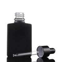 Esansiyel Yağı için benzersiz Siyah Parfüm Serum Kare Shape 1 oz 30 ml Cam Damlalık Şişe