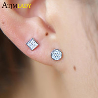 new arrive simple tiny cute geometric shape pave cz small round square shape stud 925 sterling silver dainty earring