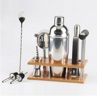 Barman Kit: Bar 14 pièces Jeu d'outils avec Stylish Bamboo Stand - Perfect Home Bartending Kit et Martini Cocktail Shaker Set 750ml AAF418