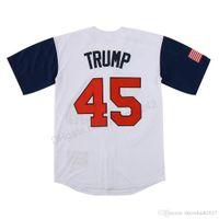 رخيصة بالجملة 2020 USA فريق $ 45 دونالد ترامب البيسبول الفانيلة مخيط الذكرى ترامب هدية الحجم S-3XL أعلى جودة