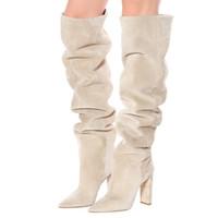 أزياء المرأة فو الجلد المدبوغ أكثر من الركبة العليا مترهل أحذية مدبب تو مكتنزة كعب التهدل طويل أحذية السيدات الشتاء الكعب أحذية 2020 أزياء