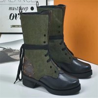 New Metropolis Flat Ranger Combat boots Women Canvas Leather...