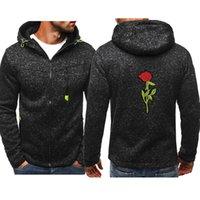 New Hoodie Men 2020 Spring Casual Rose Long Sleeve Mens Hoodies Sweatshirts Slim Zipper Hoody Sweatshirt Men Hooded Streetwear