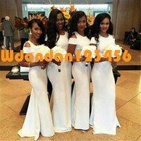 2020 Weiß African Mermaid Brautjungfernkleider Mode mit kurzen Ärmeln Hochzeitsgast Kleider nach Maß reizvolle Sleeved Lange Mädchen der Ehre Neds98