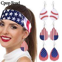 Cpop تنس العلم الأميركي أقراط طبقة مزدوجة ورقة قطرة الماء PU جلدية أزياء أقراط مجوهرات للنساء اكسسوارات هدية 2020