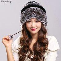 Шапочки / черепные колпачки Harppihop Fur Real Hat с подлинными шариками шапочки на полоску 2021 зима теплая натуральная REX