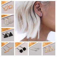 Mode Géométrie Simple Studrings Boucles d'oreilles Triangle Square Boucles d'oreilles 3 couleurs Punk Boucles d'oreilles Bijoux pour Femme Girl Brithday Cadeau de Noël