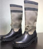 الأصلي نمط الساخنة Dl0RBRANDS 2020 جديد جلد البقر خياطة الطائر حك الجوارب منصة أحذية النساء مارتن الكاحل الحذاء منتصف أنبوب فارس أحذية