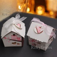200PCS Mini House Candy Boxes Wedding Favors Birthday Sweeet Package Party Decors Favors Mini House Chocolate Boxes with Ribbon n Tag