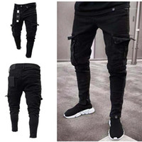 Jeans Solid Color Trendy Hole Zip Pants Fashion Homme Pants ...