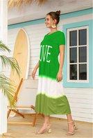 Gradient Short Sleeve Long Dress Women Fashion Letter Printed Beach Dress Round Neck Soft Comfortable Casual Ladies Dresses
