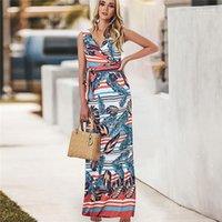 Dress Ladies Temperament Sleeveless Print Dress Fashion Summer V Neck Waist Strap Slim Fit Designer Famale