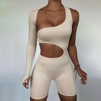 Асимметричные твердые женщины Rompers 2020 базовый с длинным рукавом повседневная спортивная одежда на улице женские эластичные высокие талии коммуникации