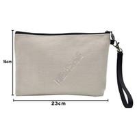 D92408 Cosmetic Bag fai da te ispessito Lino pochette cerniera bagagli a trasferimento termico a sublimazione vuoto pianura Designers Borse delle donne della borsa del Tote