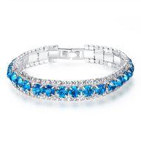 Luxury Color Crystal Rhinestone Bangle Bracelets Wedding Bracelet for Women Cubic Zirconia Charm Bracelet Jewelry