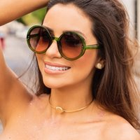 Sexy Retro Sunglasses Rodada Mulheres Gradient Vintage Sun Glasses 2020 Plastic Rivet Quadro Oversized Eyewear Shades por Mulheres UV400