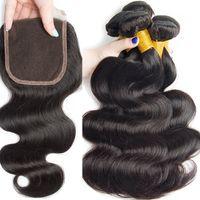 Paquetes de onda corporal con cierre de cabello brasileño 3 paquetes con cierre de encaje 8a paquetes humanos con cierre moderno espectáculo