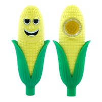 """4.4"""" Corn smoking pipe Silicone Spoon Pipes oil hand pipes with glass bowl portable hookah DHL free shipping"""