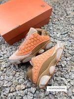 Clot x 13 XIII Jumpman Terracotta Warriors Çocuk Erkekler Basketbol Ayakkabıları 13s Düşük Spor Sneakers Gri ve Zeytin Süet Atletik Top Qaulients