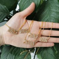 Collar colgante de numeros de cristal CZ para mujeres collares iniciales 1985 ~ 2020 años Zircon Charm Collares Cumpleaños de cumpleaños Cuello de regalo BFF